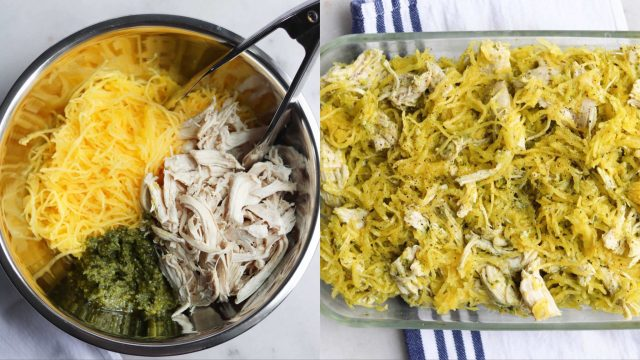 A collage of prep shots. On the left, a bowl with chicken, spaghetti squash, and pesto. On the right, it's all mixed together and in the casserole dish.