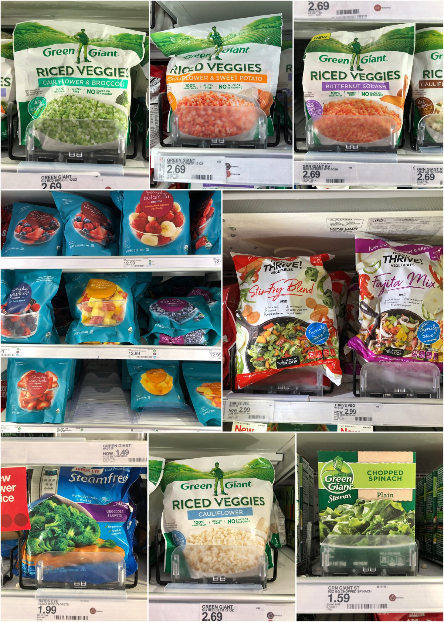 A collage of bagged, frozen vegetables and fruits.