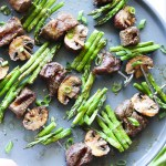 Whole30 and Keto Asparagus, Mushroom and Beef Kebabs!