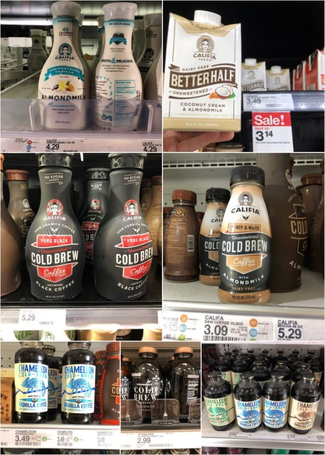 A collage of Whole30 beverages available at Target.