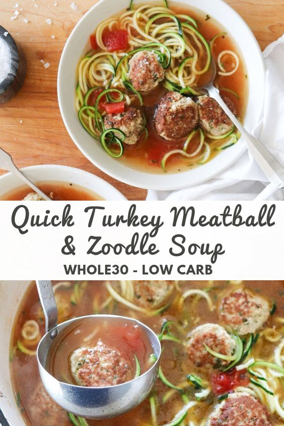 """Close up top down of the Turkey Meatball soup with the words """"Quick Turkey Meatball & Zoodle Soup, Whole30, Low Carb"""" for Pinterest."""