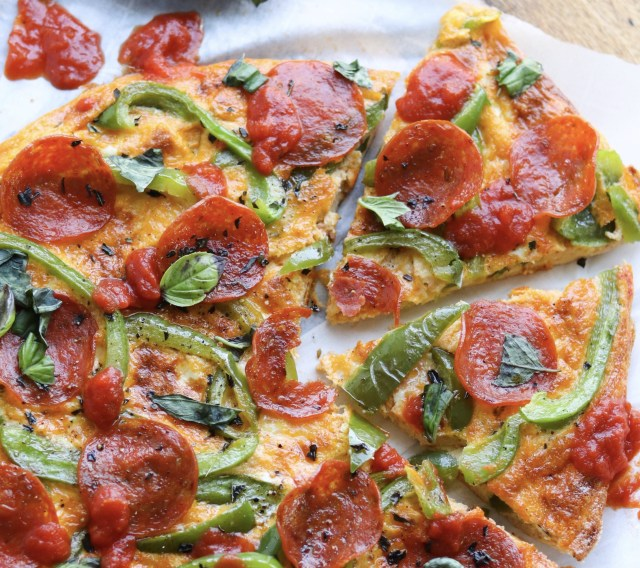 Pepperoni Pizza Frittata finished and sliced into individual servings.