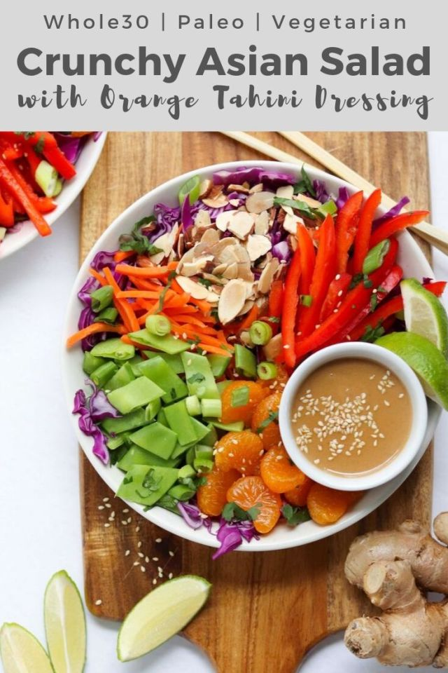 "Pinterest graphic - finished dish with the text ""Whole30, Paleo, Vegetarian. Crunchy Asian Salad with Orange Tahini Dressing"""