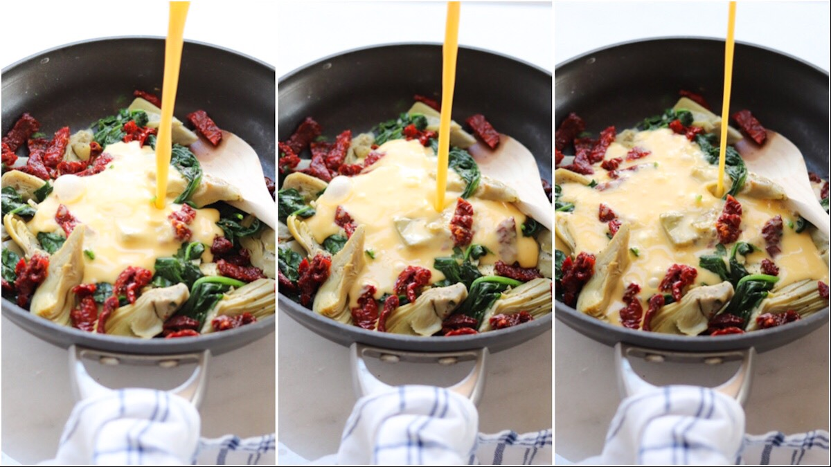A collage of photos showing the process of eggs being poured on top of the frittata ingredients in a black skillet.