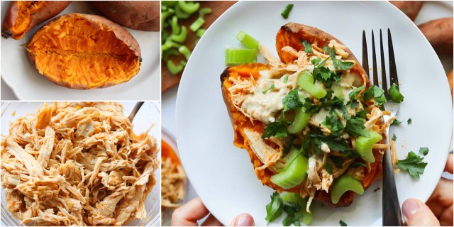 A collage of three photos: 1. A cooked sweet potato cut in half 2. A glass bowl filled with cooked and shredded buffalo chicken 3. The finished dish on a small white plate with a fork-- a sweet potato stuffed with shredded buffalo chicken, drizzled with ranch and sprinkled with chopped celery and parsley.