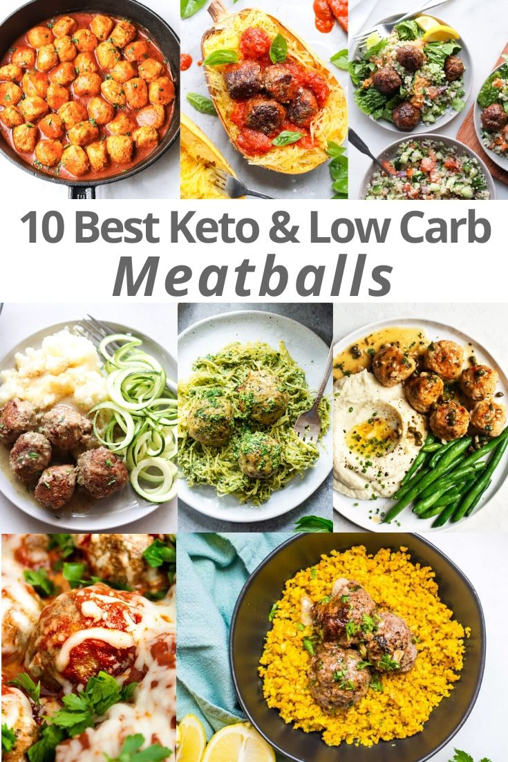 """A collage of the meatballs recipes with the words """"10 Best Keto & Low Carb Meatballs"""" for Pinterest"""