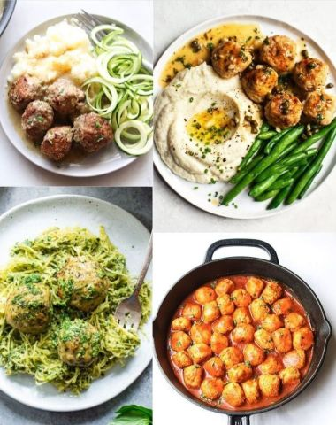 Collage of photos of keto meatballs recipes