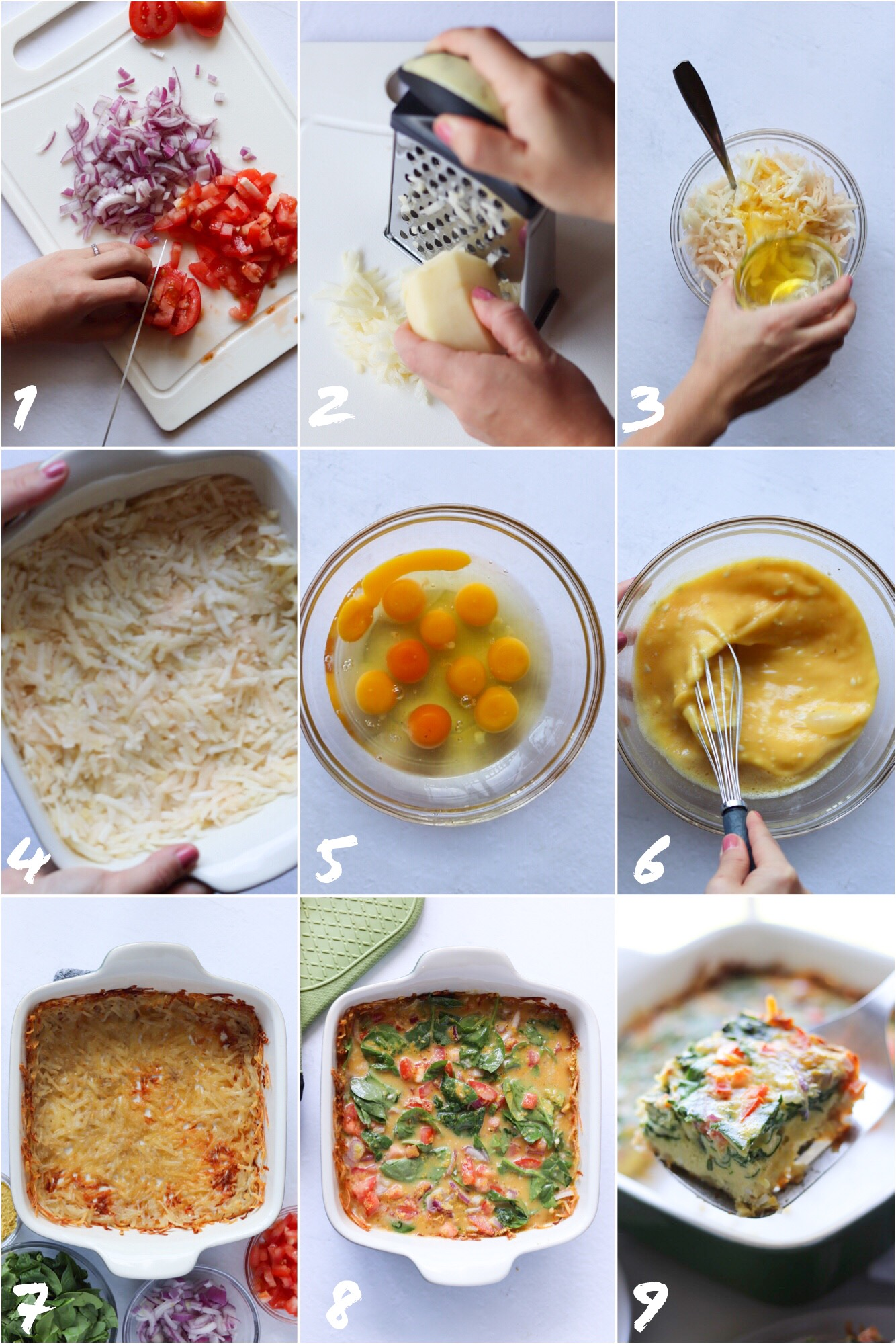 Step by Step Collage of photos showing how to make the breakfast casserole: cutting the vegetables and grating the potato, mixing the ghee and potatoes and pressing them into the baking dish, whisking the eggs, adding all the ingredients on top of the cooked crust, and finally plating the finished dish.