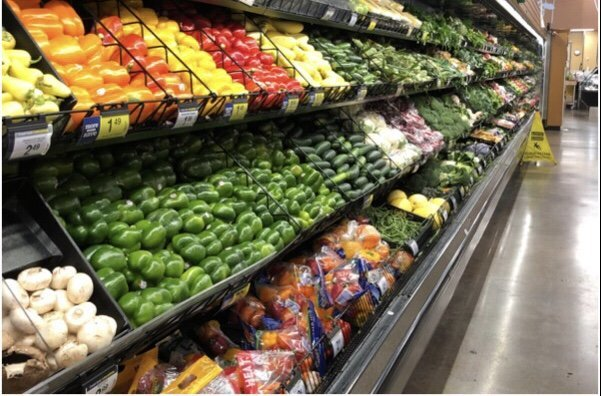 The Fruit and Veggie aisle at Kroger - all are Whole30 compliant!