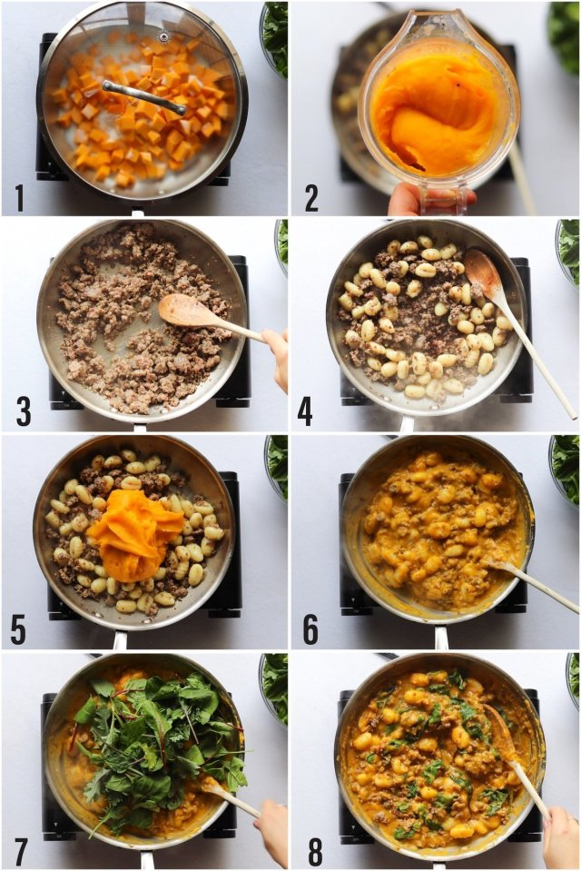 A collage showing step by step process to make the dish.