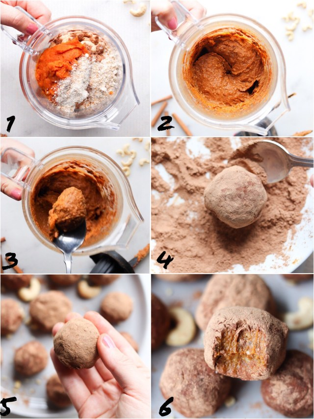 A collage of step by step instructions to make the recipe: Add all ingredients to a blender, blend until smooth, spoon into a dish of cacao powder, roll in your hands, and enjoy!