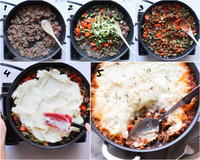 Collage of photos showing the Step by Step process how to make Paleo / Whole30 Shepherd's Pie.