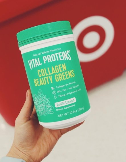 A photo of a tub of Vital Proteins Collagen beside the Target Logo