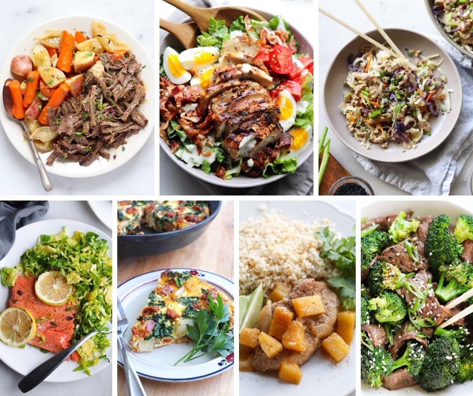 Collage of photos showing all the finished Whole30 recipes for week 1.