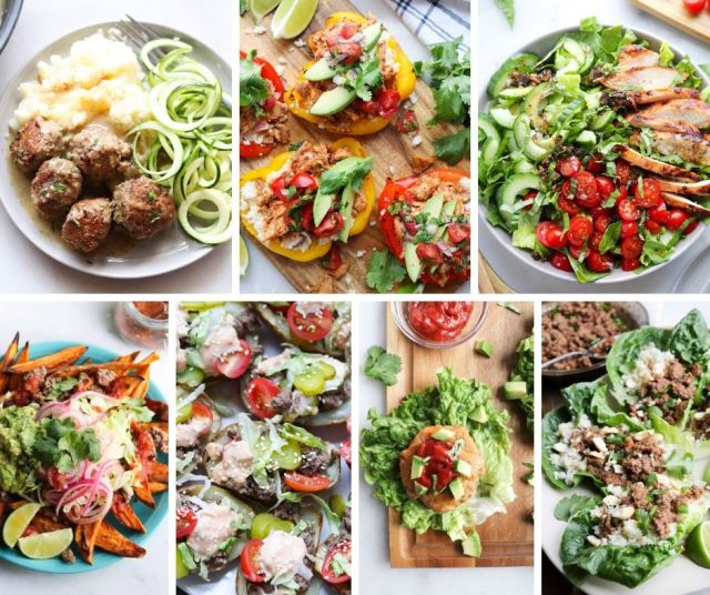 A collage of photos showing all the Whole30 recipes and the shopping list ingredients for week 2.