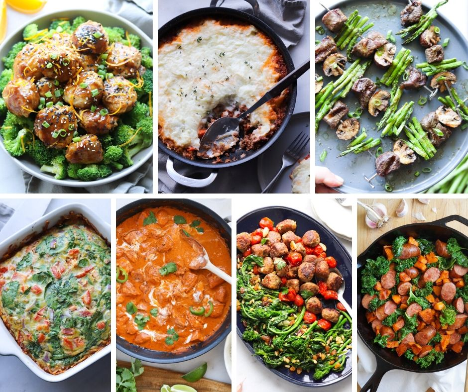 Collage of photos showing the Whole30 Meal Plan for week 4 with printable grocery shopping list.