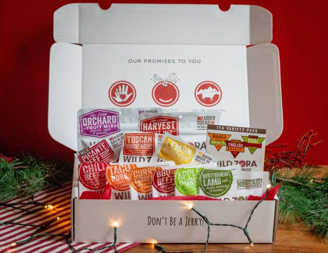 Assortment of Wild Zora products packaged in a Christmas box.