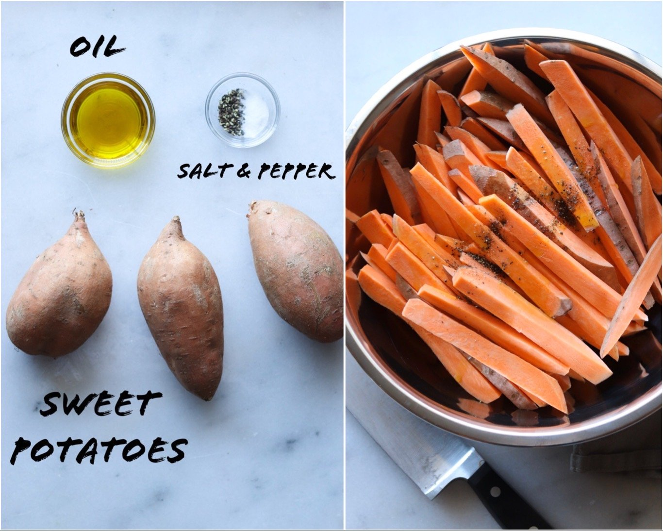 Collage showing the sweet potato fries ingredients laid out on a white marble board, then cut up and mixed together in a large stainless bowl.