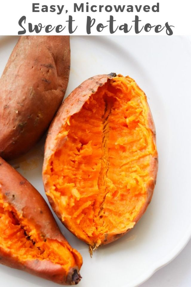 "Pinterest Graphic showing the finished dish and the text ""Easy, Microwaved Sweet Potatoes"""