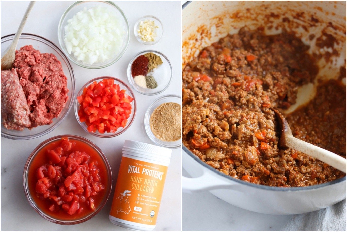 A collage showing the ingredients in Whole30 chili on a white board and the finished chili in an enamel pot to show how easy this football snack is to make!
