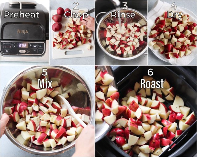 Step by Step Process shots showing how to roast potatoes in the air fryer.