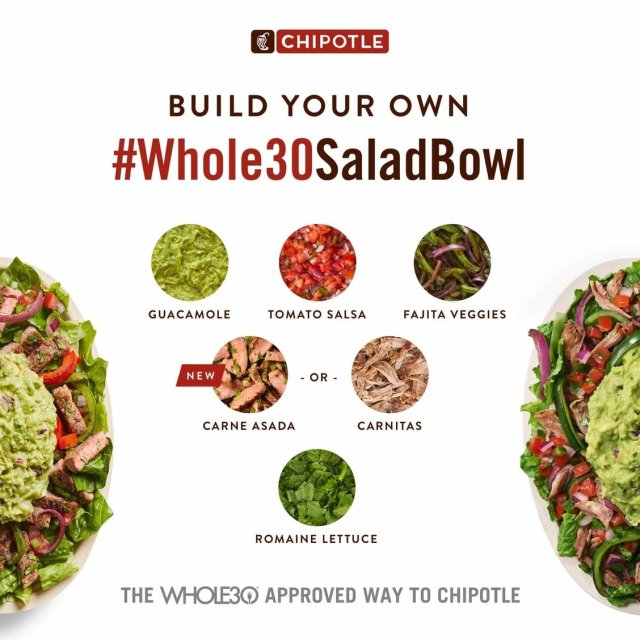 A graphic showing the ingredients in the Whole30 Approved Salad Bowl at Chipotle.