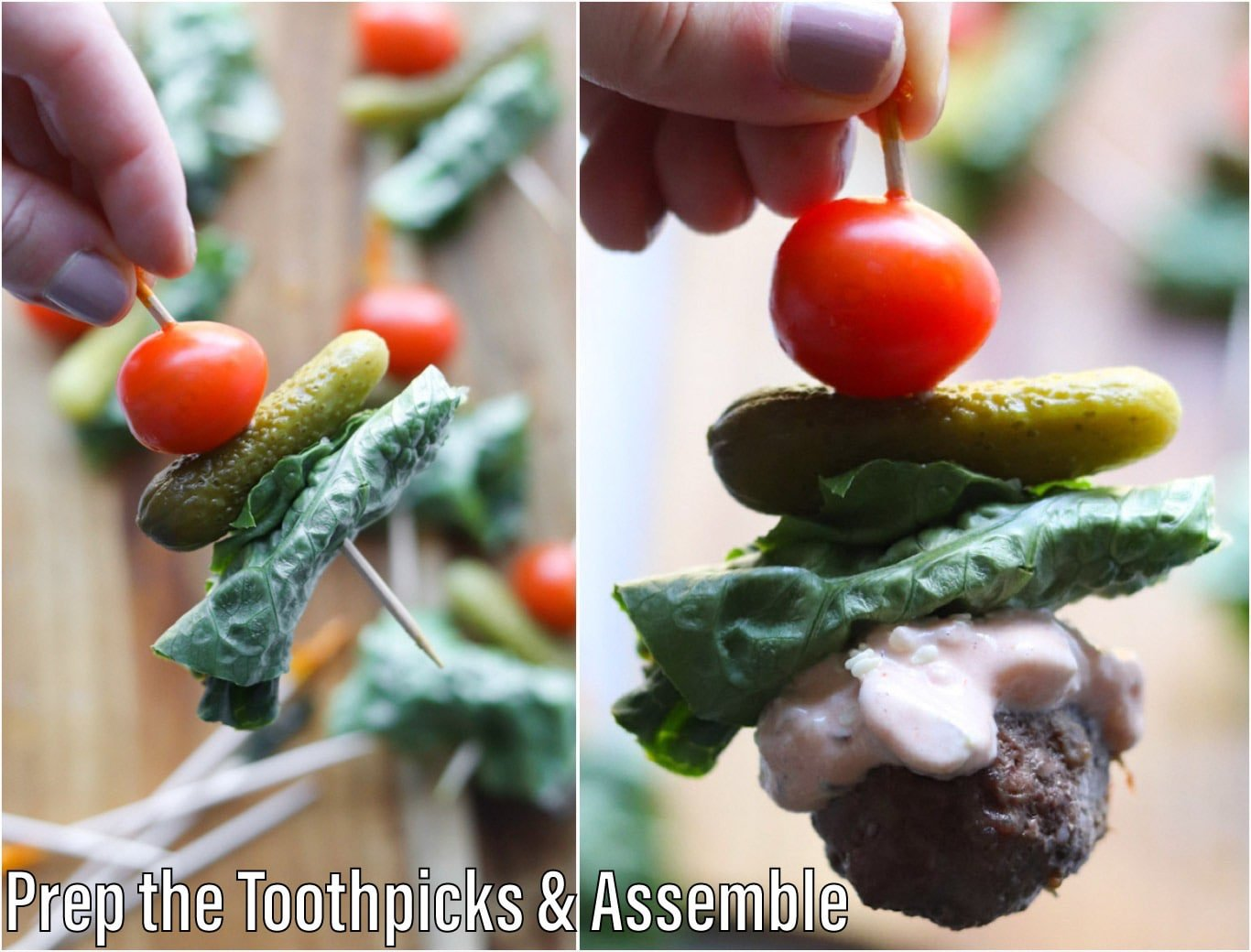 A collage showing how to prep the toothpicks by putting the tomato on first, then the pickle, then the lettuce.