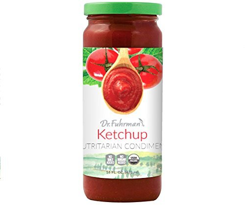 Close up of a jar of Dr. Furman No Added sugar ketchup.