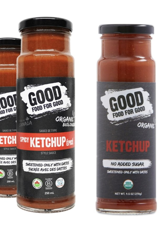 Close up of Good Food for Good Whole30 Approved ketchups.