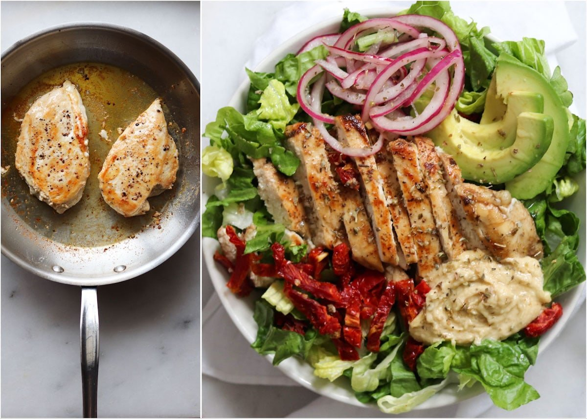 A collage showing the process of grilling the chicken, then assembling the salad in a bowl.