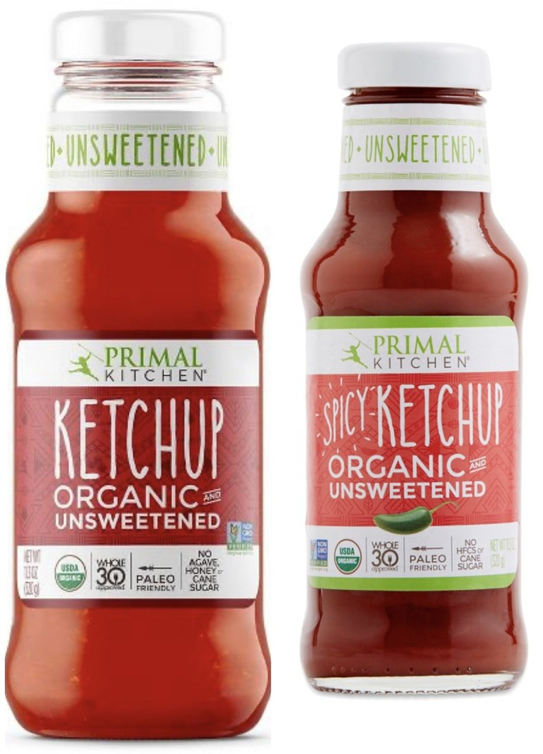 Primal kitchen foods spicy and original sugar free, whole30 approved ketchups.