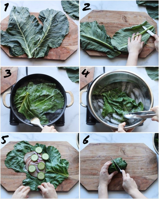 Collage of Step by Step photos showing the process to make blanched collard green wraps.