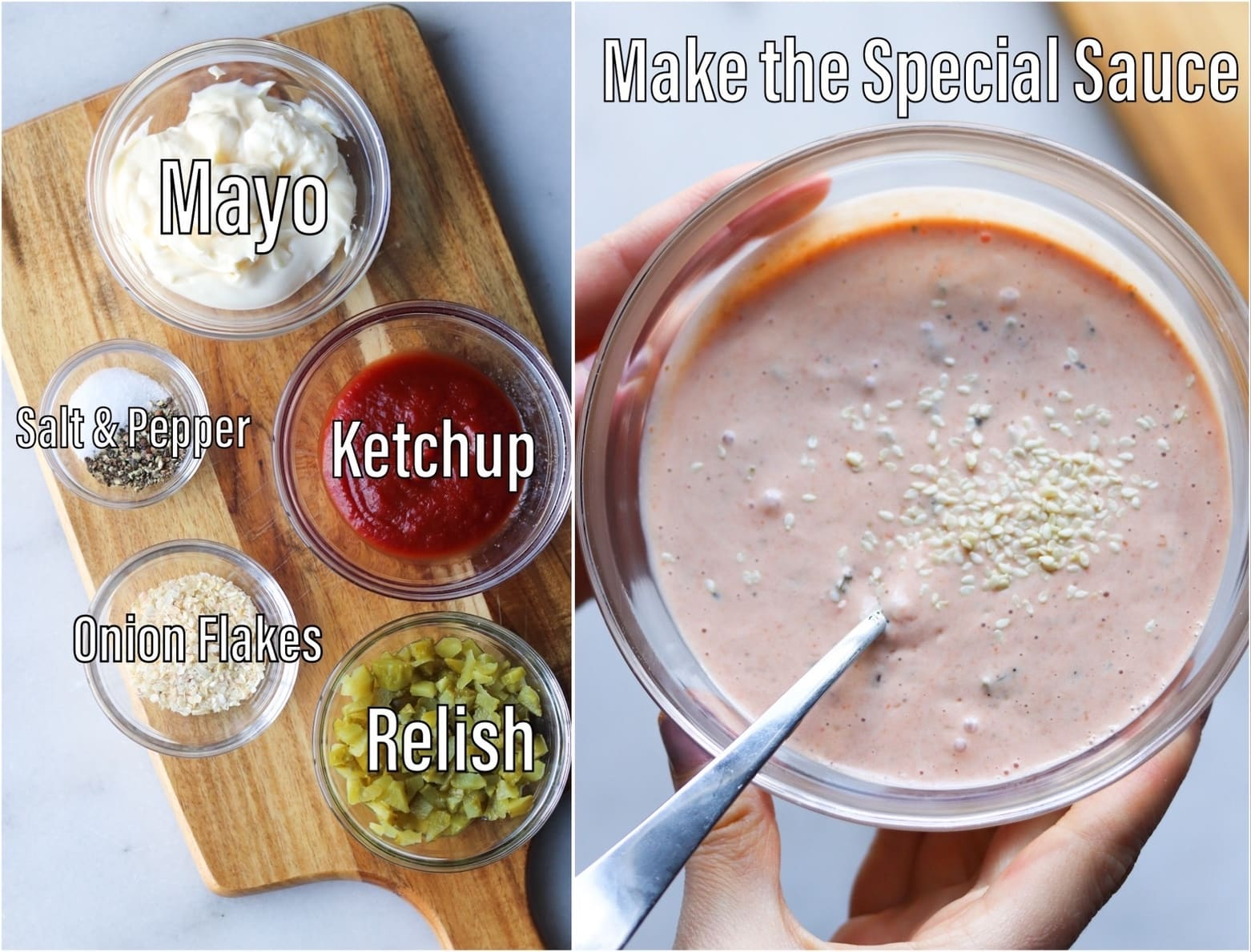 A collage of the special sauce ingredients labeled and laid on a wooden cutting board beside a photo of the finished special sauce in a small white bowl.
