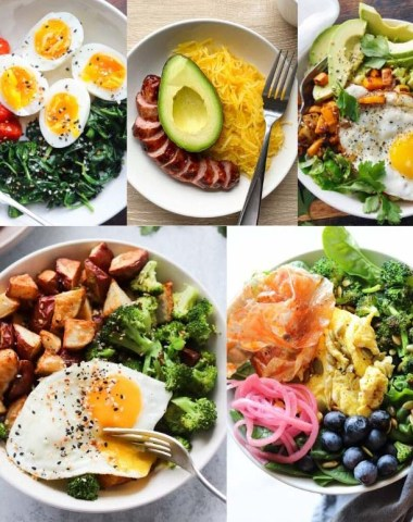 A collage of photos of the finished breakfast bowls