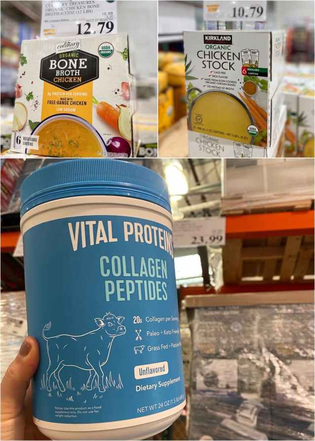 A collage of chicken stocks and collagen at Costco with prices.