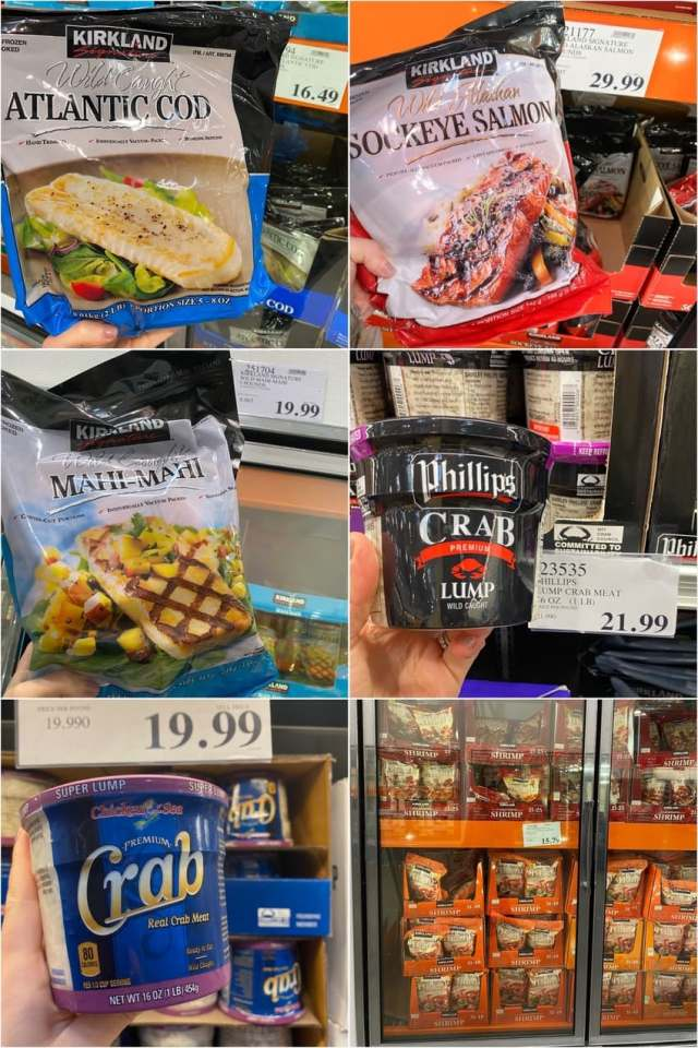 A collage of Whole30 compliant seafood available in the freezer and refrigerated grocery aisle at Costco with prices.