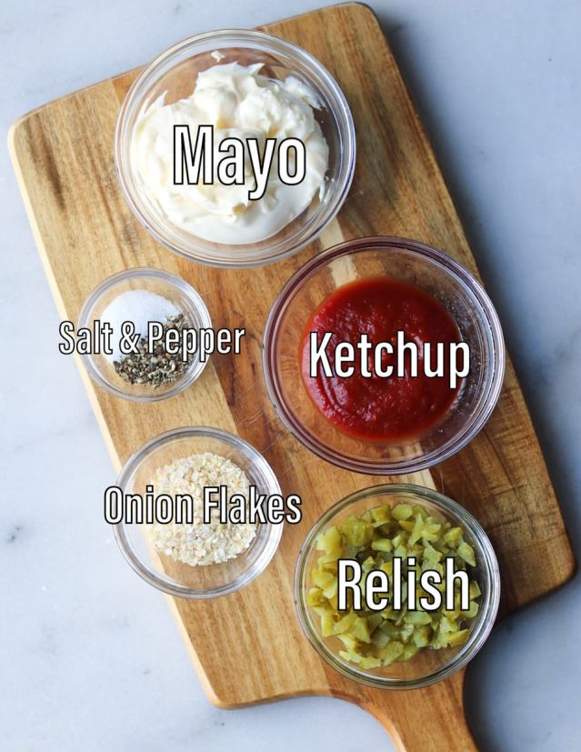 All the ingredients in the homemade special sauce (hamburgerdressing) in small glass dishes and labeled.