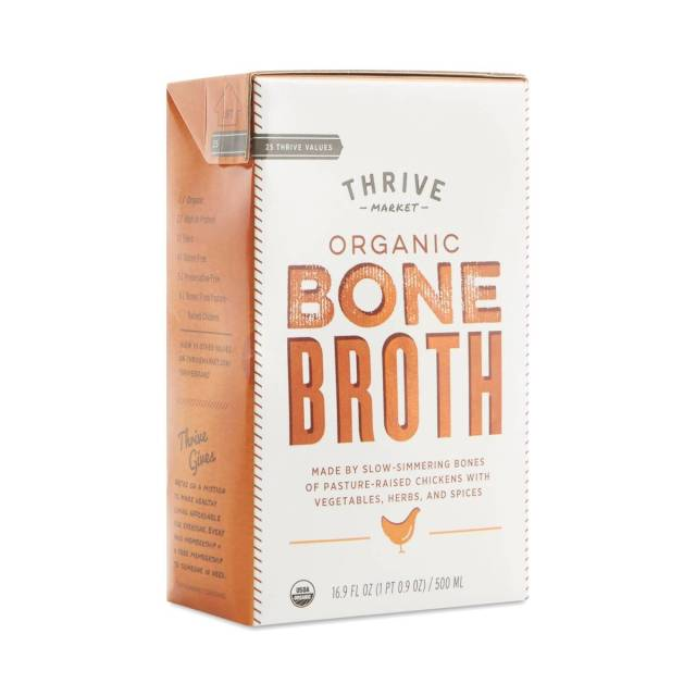 A box of Thrive Bone Broth.