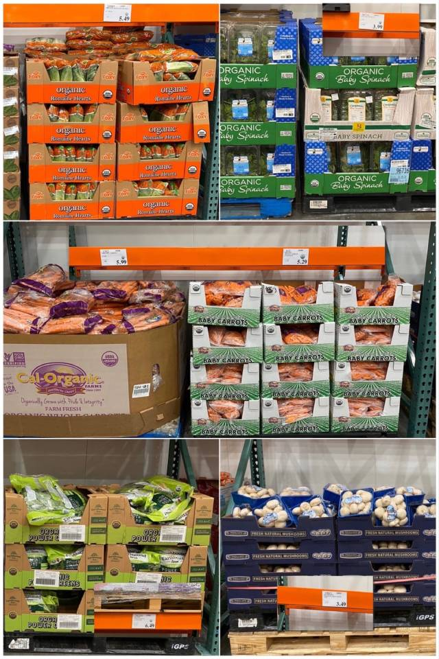 A collage of photos of vegetables at Costco.