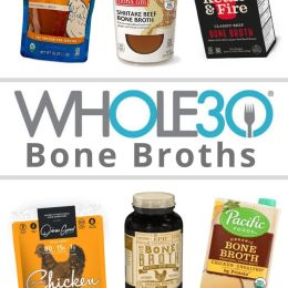 "A collage of photos of the packaged broths with the words ""Whole30 Bone Broths"" for Pinterest."