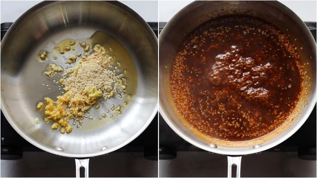 Process shots showing the General Tso's Sauce in a skillet.