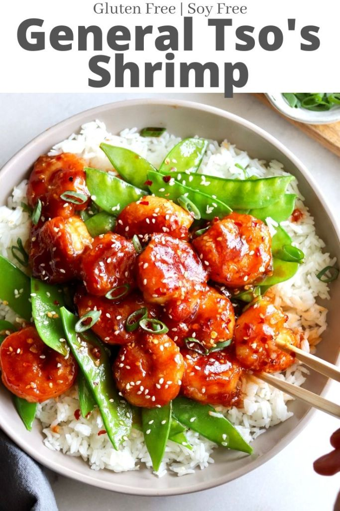 """Pinterest Graphic showing the finished dish and the text """"General Tso's Shrimp"""""""