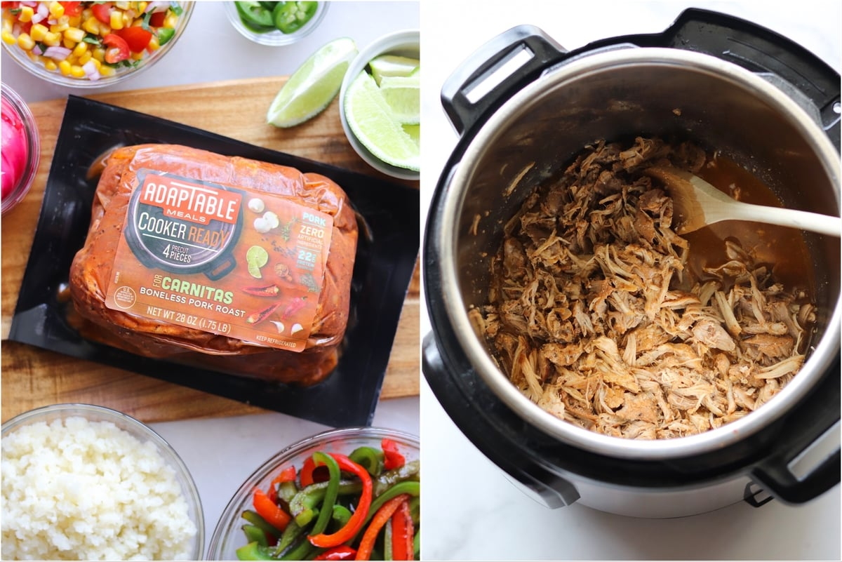 A collage showing the AdapTable Carnitas roast in the packaging, and the cooked and pulled carnitas inside the Instant Pot.