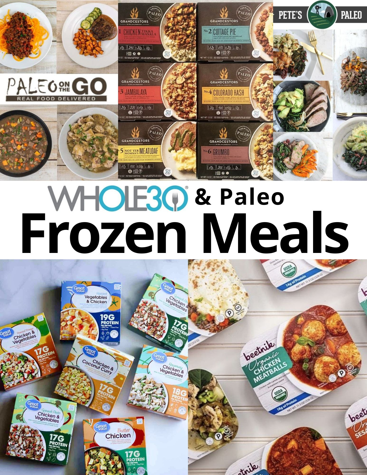 Pinterest Graphic with a collage of packaged frozen meals.