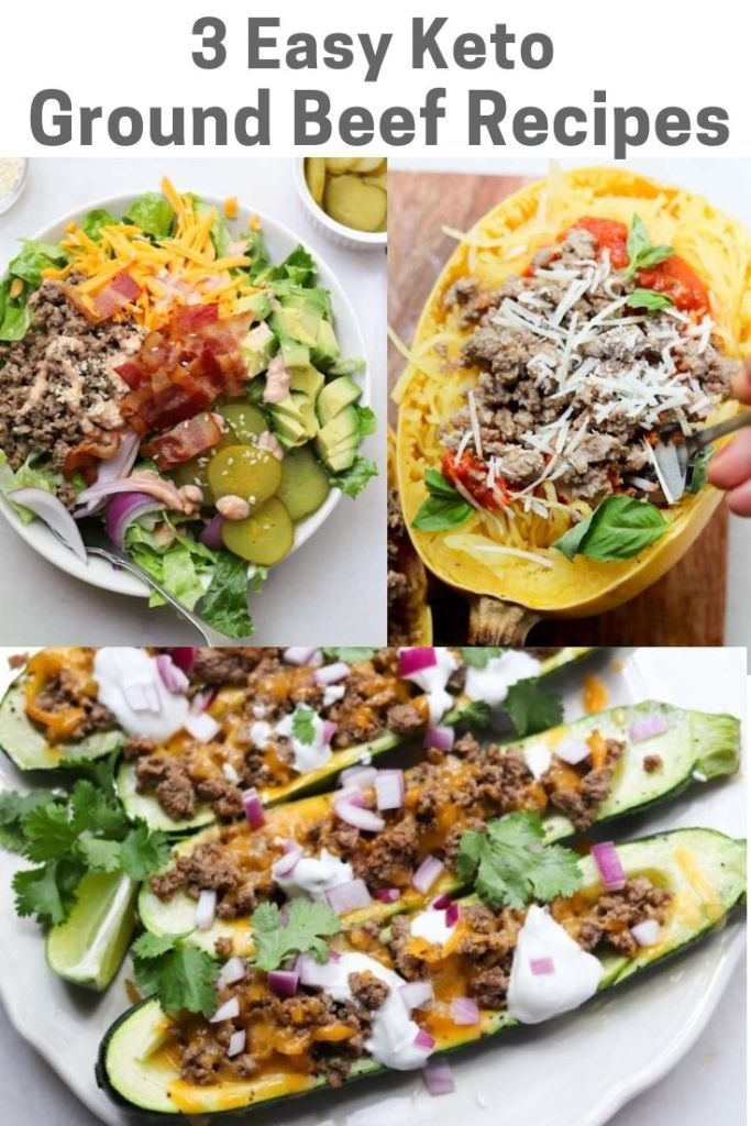 "Collage of images of the finished dishes with the words ""3 Easy Keto Ground Beef Recipes"" for Pinterest."