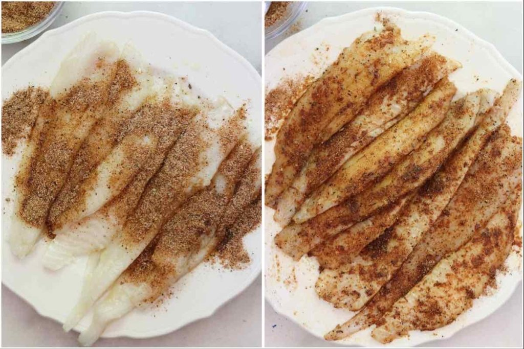 Collage of two photos, first a top down with the raw fish on a white plate sprinkled with blackened seasoning, then with the fish on the same plate and the seasoning rubbed into the fillets.