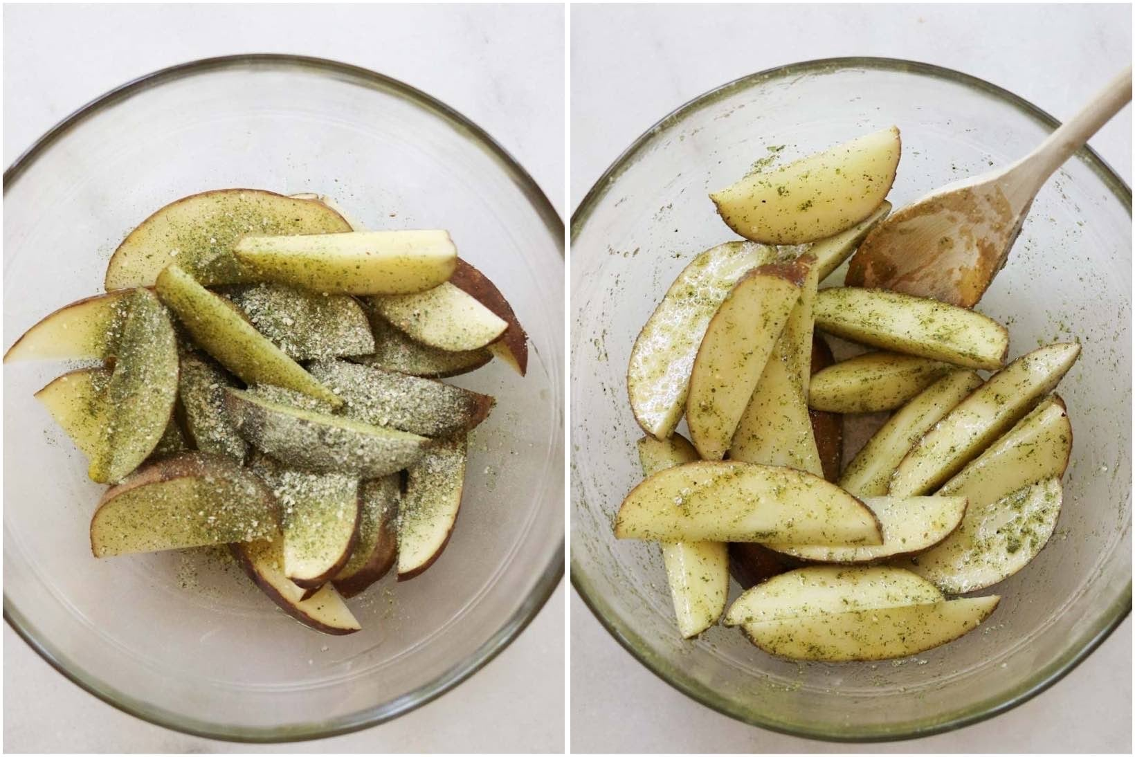Process shots, showing top down close up of the potato wedges in a glass bowl, tossed with oil and ranch seasoning.