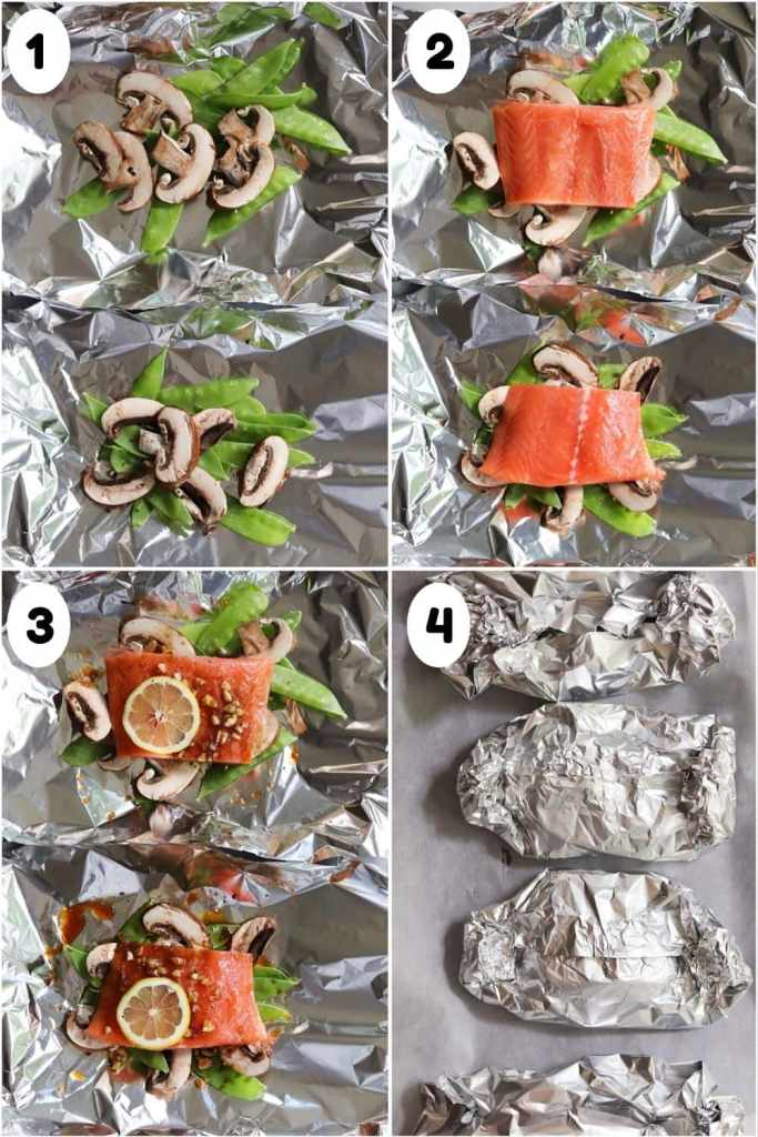 A collage showing the step by step process to make foil packets - layering the vegetables, salmon, and marinade and then closing the foil packets.