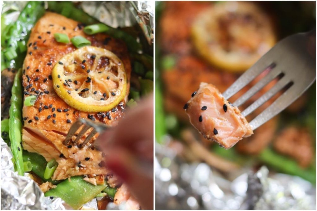 Collage of two photos, one showing the finished salmon in the foil packet, and the other showing an individual bite of salmon on a fork.