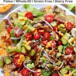 "Pinterest Graphic showing the finished dish and the words ""Paleo, Grain Free, Dairy Free Cheeseburger Nachos."""